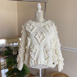 Wishlist Chunky Cream Heart Pom Sweater S/M